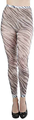 ToBeInStyle Women's Zebra Print Fishnet Footless Opaque Tights, Blackwhite, One Size
