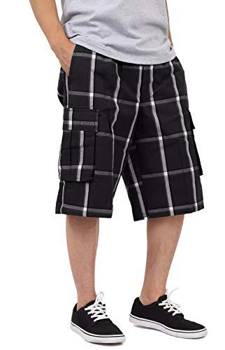 Plaid Cargo Black - SP1702_XL Relaxed fit Plaid Cargo Shorts Black 1X