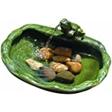 Smart Solar 22300R01 Solar Powered Ceramic Frog Water Feature. Green Glazed Ceramic