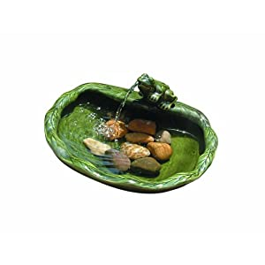 41DtCtE2hGL. SS300  - Smart Solar 22300R01 Solar Powered Ceramic Frog Water Feature, Green Glazed Ceramic, Powered By An Included Solar Panel That Operates An Integral Low Voltage Pump With Filter