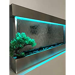"""Wall WaterFall XL 47""""x24"""" White frame wall fountain ,Mirror Glass , Color Lights Remote Ctrl $100 OFF SALE"""