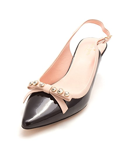 Kate Spade New York Womens Palina Pointed Toe Slingback Classic Pumps Black Patent/Pale Pink x1qWas9