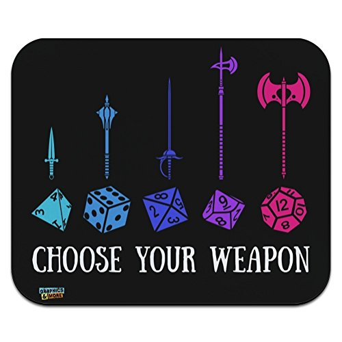 Choose Your Weapon Dungeon RPG Dice Low Profile Thin Mouse Pad (Mouse Dice)