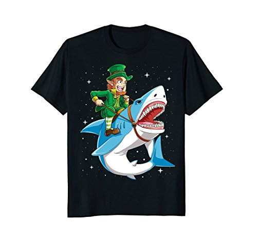 St Patricks Day Shirt Boys Kids Leprechaun Riding Shark Girl