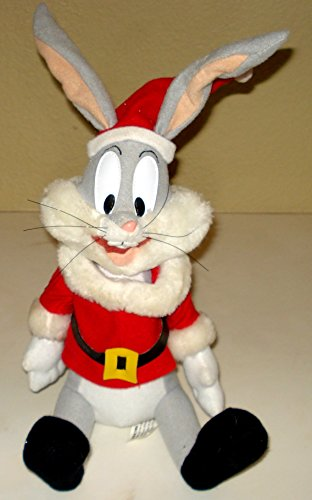 Bugs Bunny Plush In Santa Outfit Sits 12 Inches -