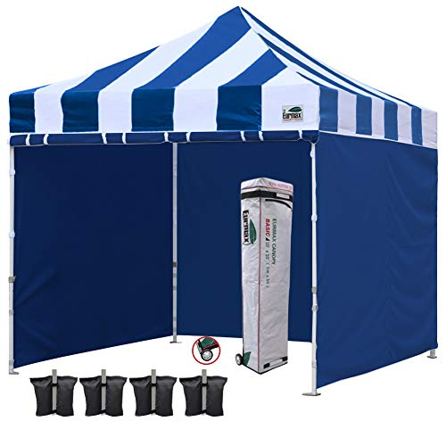 Eurmax 10x10 Ft Easy Pop-up Canopy Commercial Instant Party Tent with 4 Removable Sidewalls and Roller Bag, Bonus 4pcs Weight Bags (S Blue)