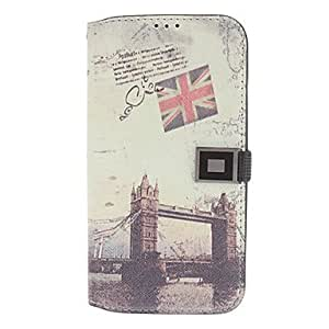 ZXC Wallet Style London Bridge Pattern Plastic and Retro Leather Case with Card Slot for Samsung Galaxy S4 i9500/i9505