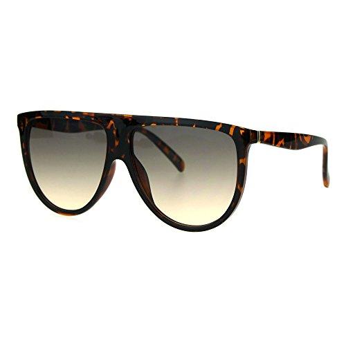 Oversize Thin Plastic Flat Top Mob Color Oceanic Gradient Lens Sunglasses Tortoise Grey Orange