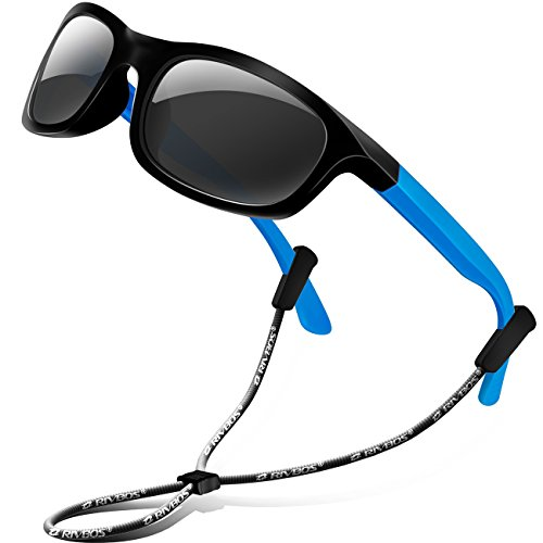 RIVBOS Rubber Kids Polarized Sunglasses With Strap Glasses for Boys Girls Baby and Children Age 3-10 RBK025 ?1511-black&blue?