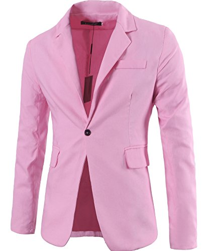 [Lende Men's Fashion Lightweight Cotton and Lined One-Button Suit Blazer,Pink,X-Large] (Pink Man Suit)