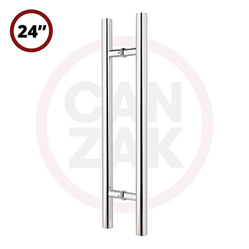 Wine Cellar Door Or Gate (Canzak 24 Inch Mirrored Stainless Steel Pull Push Door Handles, Interior or Exterior, Contemporary, Modern)
