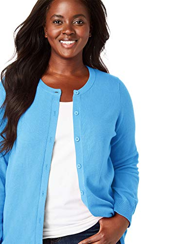 Woman Within Women's Plus Size Perfect Long Sleeve Cardigan - Anchor Blue, ()