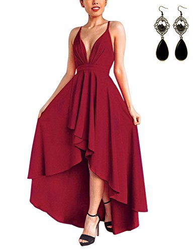 WAEKIYTL Women Sexy V Neck Asymmetrical Dress High Low Evening Party Dress...