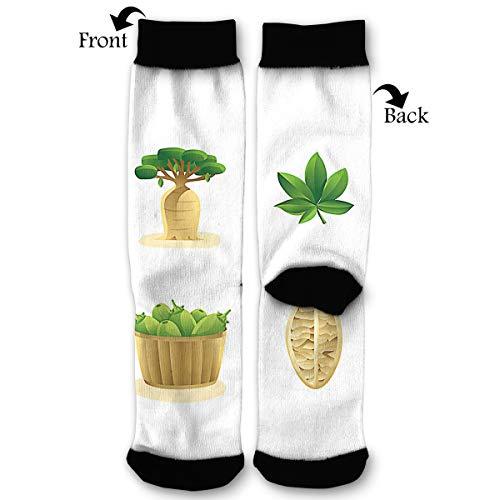 EKUIOP Socks Baobab FULLCOLOUR Vector Funny Fashion Novelty Advanced Moisture Wicking Sock for Man Women -