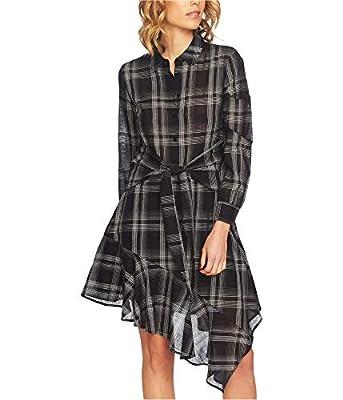 1.State Womens Long Sleeve Capital Plaid Tie Waist Shirt Dress