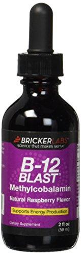 Bricker Labs B-12 Blast Methylcobalamin Vitamins, Natural Raspberry, 2 Fluid Ounce