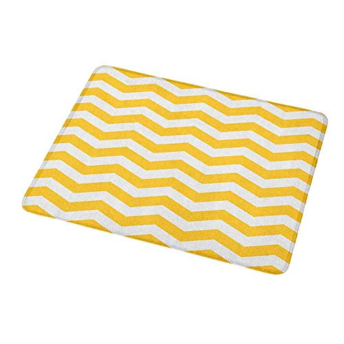Natural Rubber Mouse Pad Yellow Chevron,Modern Summer Season Pattern Zigzag Tile Design Wavy Horizontal Motif,Yellow and White,Standard Size Rectangle Non-Slip Rubber Mousepad 9.8