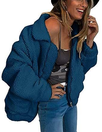 Choichic Sherpa Jacket Women - Winter Coats Fluffy Lapel Zip Up Faux Shearling Shaggy Jacket Warm Winter - Multi - Medium Royal Blue