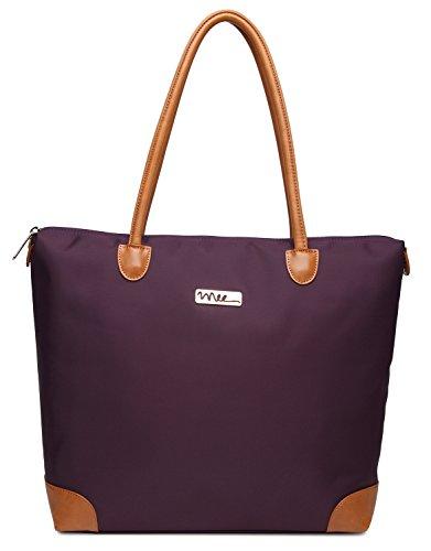 NNEE Water Resistance Nylon Tote Bag & Multiple Pocket Design (Purple (Beige Lining)) by NNEE Inc