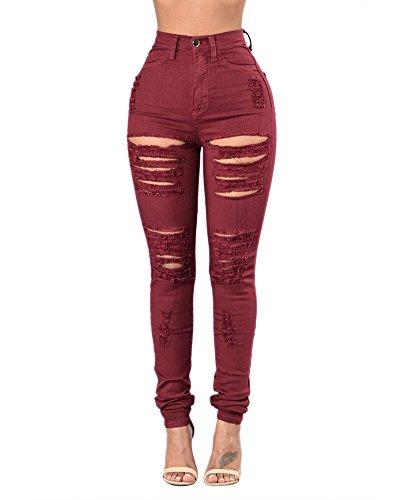 Femme Jeans Dchirs Trous  Taille Haute en Denim Pantalons Slim Pantalon Push Up Jean Vin Rouge