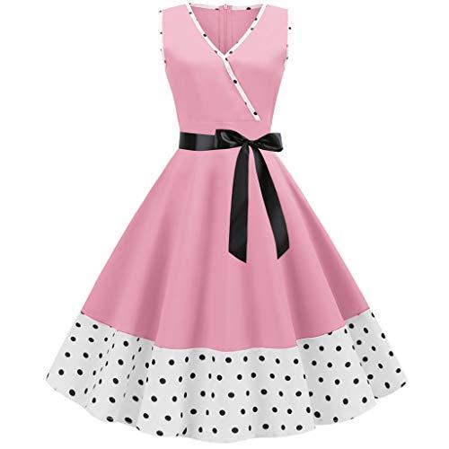 Rakkiss Women Vintage Skirt Solid Print Splice Belt Hepburn Skirt A-Line Elegant Exquisite Dress Evening Party Dress Pink