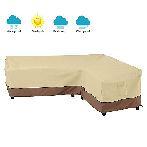 BullStar Patio Sectional Furniture Cover Waterproof Outdoor Sofa Cover L-Shaped Garden Couch Protector, Right Facing
