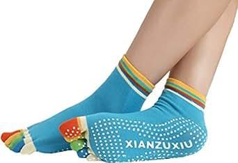 Non Slip Full Toe Yoga Pilates Socks (Pack of 5)