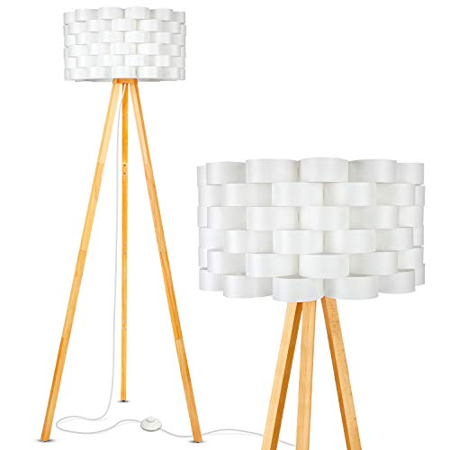 - Brightech Bijou LED Tripod Floor Lamp Contemporary Design for Modern Living Rooms - Soft, Ambient Lighting, Tall Standing Easel Survey Lamp for Bedroom, Family Room, or Office - Natural Wood Color