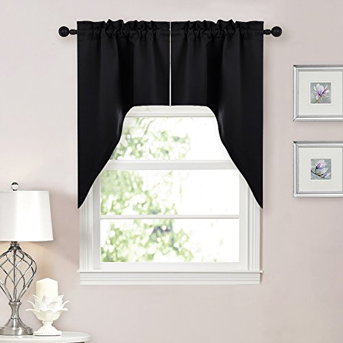 NICETOWN Home Decor Rod Pocket Blackout Kitchen Tier Curtains- Tailored Scalloped Valance /Swags for Basement (2 Panels, 58 inch Wide Combined, 38 inch Long, Black) (Kitchen Valances Black)