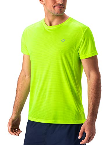 NAVISKIN Men's Quick Dry Workout Running Athletic Short Sleeve T-Shirt Outdoor Shirt Yellow Size XL ()