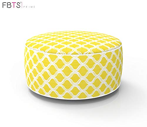 FBTS Prime Outdoor Inflatable Ottoman Yellow Round Patio Foot Stools and Ottomans Suitable for Kids and Adults Portable Travel Footstool Used for Outdoor Camping Home Yoga Foot Rest from FBTS Prime
