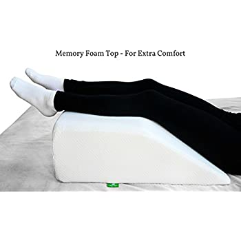 Post Surgery Elevating Leg Rest Pillow with Memory Foam Top - Best for Back, Hip and Knee Pain Relief, Foot and Ankle Injury and Recovery Wedge - Breathable and Washable Cover (8 Inch Elevator, White)