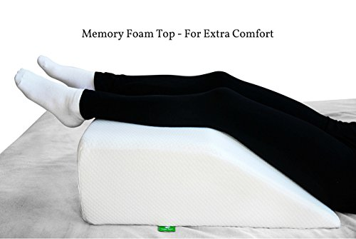 Post Surgery Elevating Leg Rest Pillow with Memory Foam Top - Best for Back, Hip and Knee Pain Relief, Foot and Ankle Injury and Recovery Wedge - Breathable and Washable Cover (8 Inch Elevator, White) (Leg Prop)