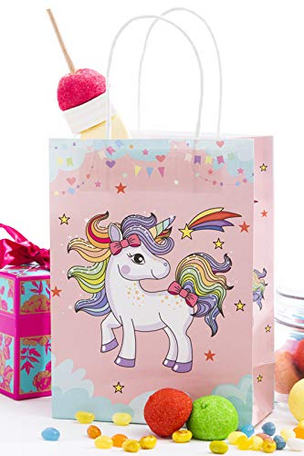 Unicorn Party Treat Candy Filler Bags with Handles Pack of 12