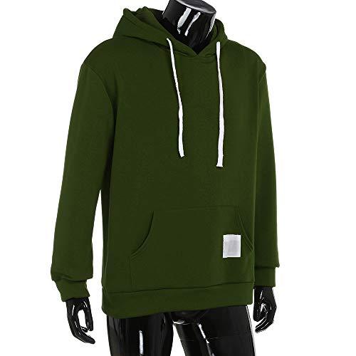 Traje de hombre otoño ❤ Sonnena Sudadera con capucha de bolsillo de lana de invierno de los hombres Sudadera con capucha de manga larga de algodón de ...