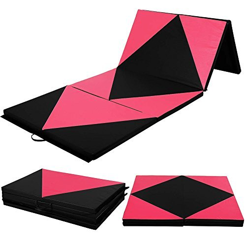 Gymnastics Mat 4'x10'x2″ Thick Folding PU Panel Gym Fitness Exercise Yoga Activities Aerobics Mats Stretching Pink-Black Color