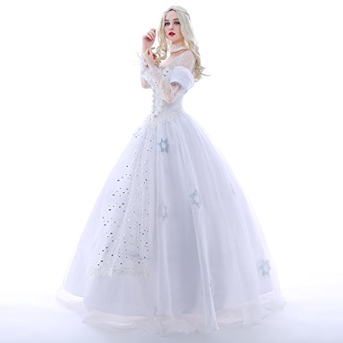 iCos Long White Queen Lace Bridal Dress Luxury Gown Women Halloween Cosplay Costume