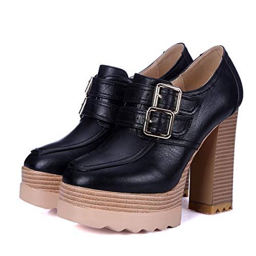 Imperméable Unique Femme Haut Mode Black Hauts Talon Chaussures Bouche Noir 12 Et Automne Talons Yukun De Épais Cm Hiver Profonde Super À Plate forme qRAIpw