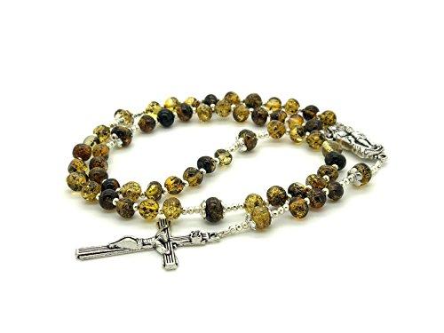 - Genuine Baltic Green Amber Catholic Prayer Rosary with Crucifix Cross