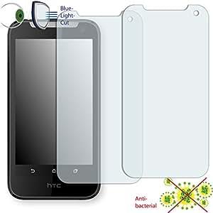 2 x Película de protección de pantalla DISAGU ClearScreen para HTC Desire 310 antibacterial, filtro BlueLightCut película de protección