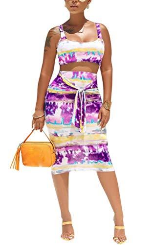 Women's Set Tie Front Print Top + Pencil Skirts Suit Two Piece Boho Outfits Tracksuit Purple L