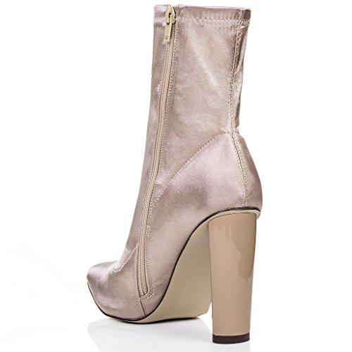 SPYLOVEBUY RHINO Mujer Tacón Bloque Botes Bajas Zapatos Beige - Satén Sintética Lycra
