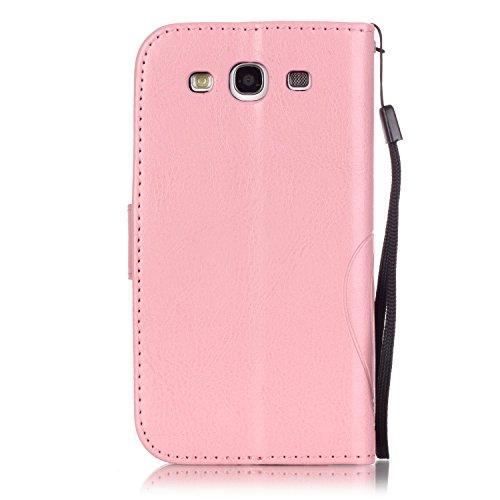 JIALUN-Personality teléfono shell Samsung S3 caja de flores en relieve, cierre magnético PU sintética cubierta de la caja con cuerda colgante y función de la cartera para Samsung S3 Seguridad y Moda ( Pink