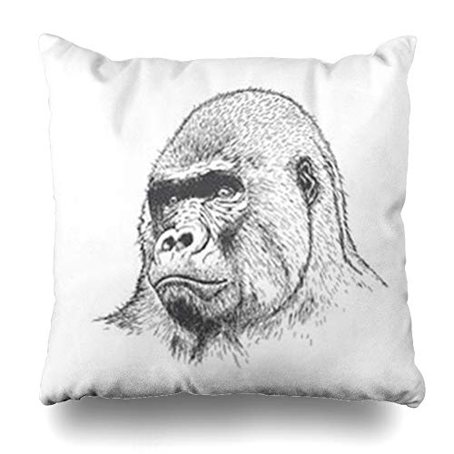 Alfredon Throw Pillow Covers Art Sketch Gorilla Detailed Wildlife Graphical Drawn Hand African Monkey Africa Pillowcase Square Size 20 x 20 Inches Home Decor Cushion Cases ()
