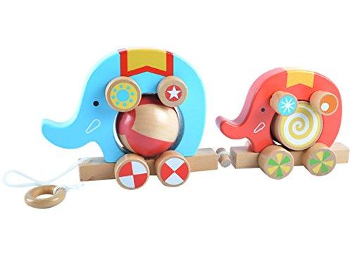 Zhenyuサーカス象おもちゃベビー木製象ホイールTowed Toys Good品質早期教育ギフト