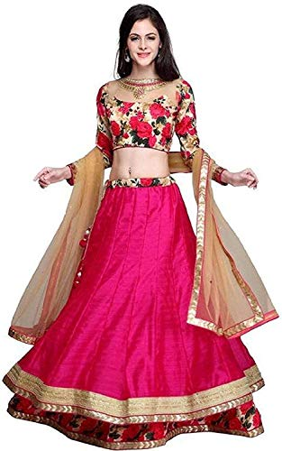 ocean dream Women's Silk Semi stitched Lehenga Choli (Gulabo Lehenga(A)_Pink_Free Size)