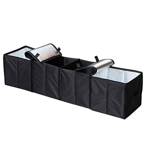 Cargo Foldable Multi Compartment Fabric Car Truck Van SUV Storage Basket Trunk Organizer and Cooler Set,Black,AK-018 (Trunk Basket)
