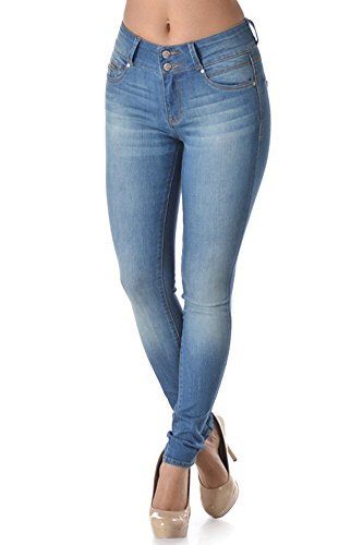 Double Button Skinny Jean - Women's Stretch High Waist Double Button Skinny Jean With 5 Pockets (11, 5039)
