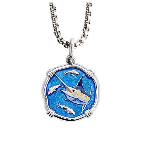Sterling Silver Marlin - Guy Harvey Full Color Enameled Marlin Necklace Sterling Silver on 22