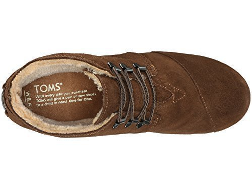 - TOMS Women's Desert Wedge Chocolate Brown Suede w/Shearling Boot 5 B (M)